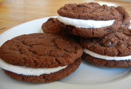 chewy chocolate cookies with Marshmallow filling