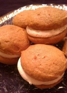 Pumpkin Whoopie Pies with Caramel Frosting