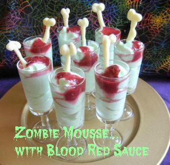 Zombie Mousse with Blood Red Raspberry Sauce