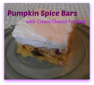 pumpkin spice bars cream cheese frosting