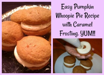 Easy Pumpkin Whoopie Pie Recipe with Caramel Frosting. YUM!!